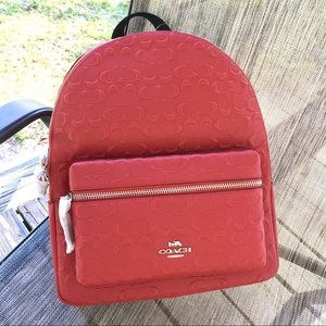 Coach Signature Red Leather Backpack